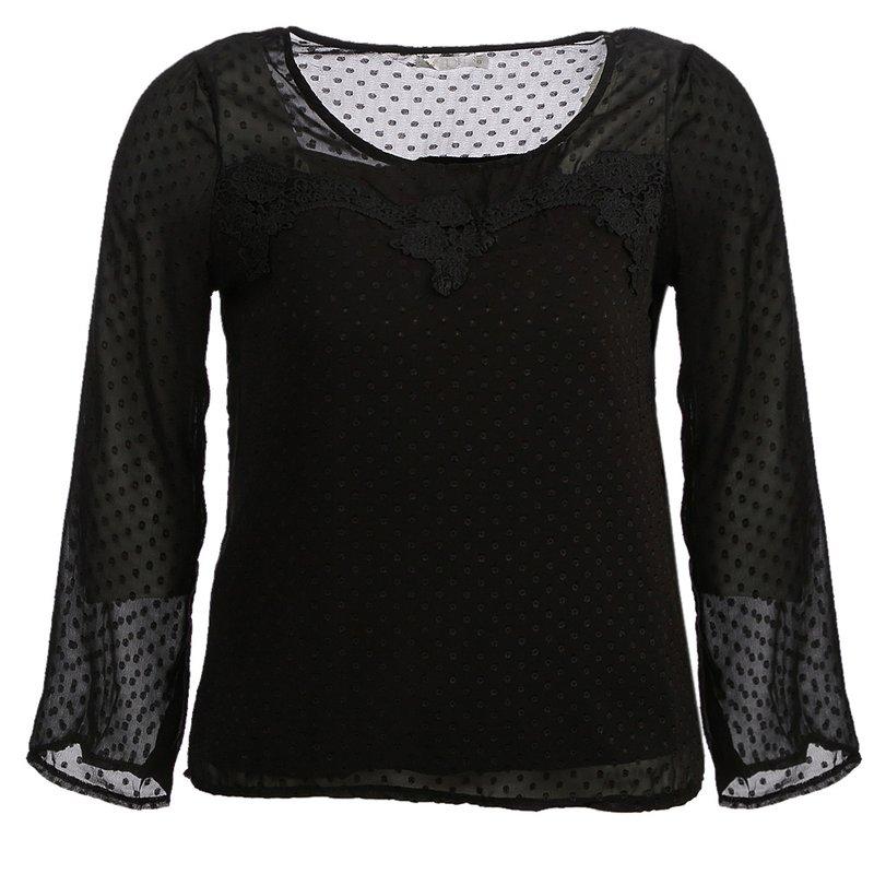 f970344e57 Blusa Com Tule E Renda Na Gola (Plus Size) - Compre Agora - Feira da  Madrugada SP