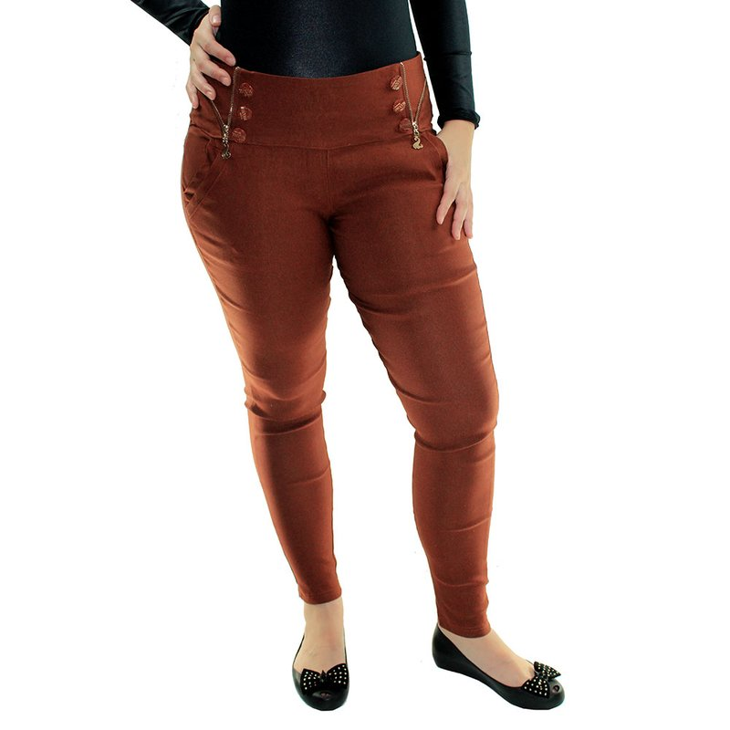 f791ab3e2 Calça Cotton Jeans Cintura Alta Zíper e Botões Decorativos - Compre ...