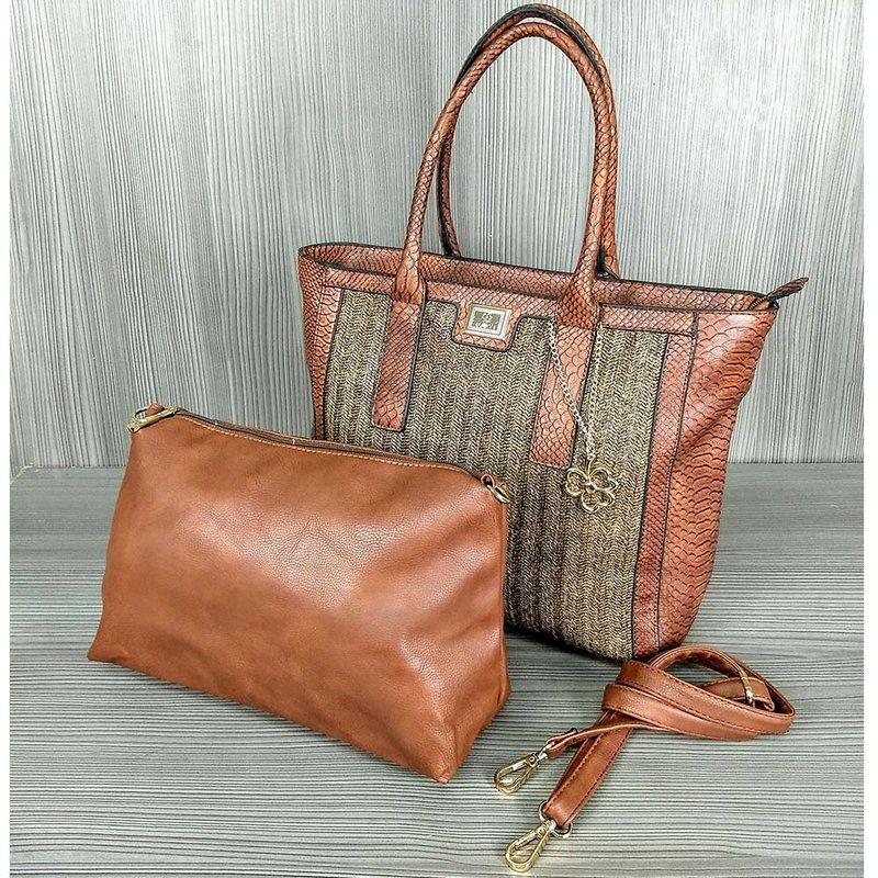 5a2355cb6 Kit 2 Bolsas Feminina De Ombro + Transversal Com Detalhes Alto ...