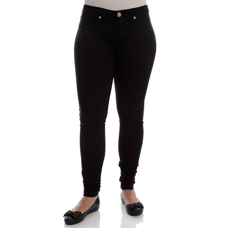 7cbae3221 Calça Jeans Feminina Lisa Skinny Preta - Compre Agora - Feira da Madrugada  SP