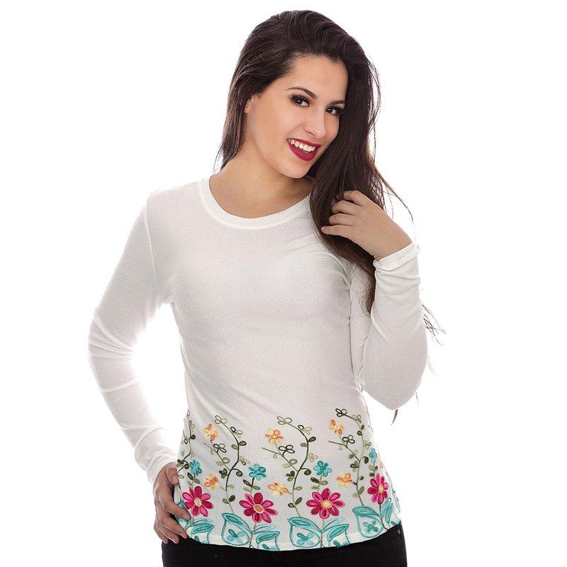 70f1cf8fc3 Blusa Feminina De Tricot Com Bordado Floral - Compre Agora - Feira da  Madrugada SP