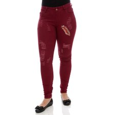 Calça Jeans Feminina Destroyed Com Patch