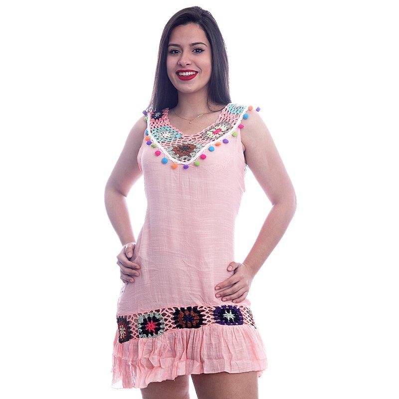 53c549a76 Vestido Com Detalhes Em Tricô Colorido - Compre Agora - Feira da Madrugada  SP