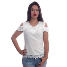 7cf026394 Blusa Ombro Vazado Com Renda - Compre Agora - Feira da Madrugada SP