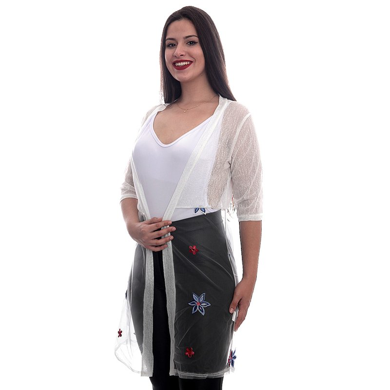 da7e00edf Kimono Com Tule Bordado Saída De Praia - Compre Agora - Feira da ...