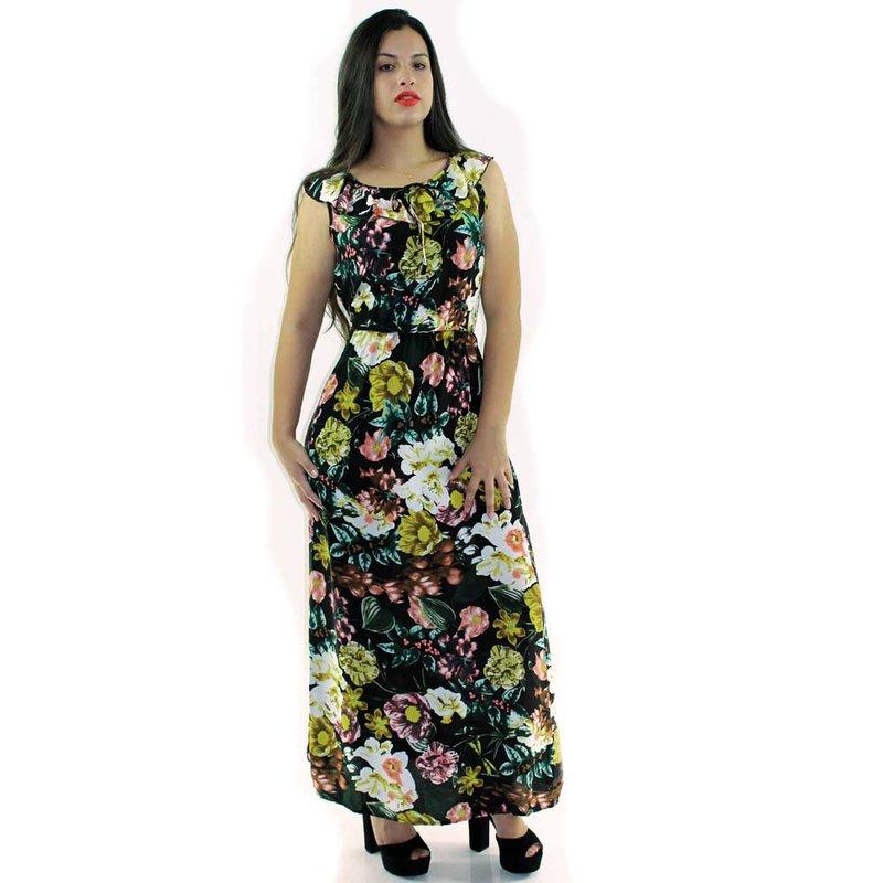 d66772c4b Vestido Longo Com Estampa Floral Com Babado Na Gola - Compre Agora ...