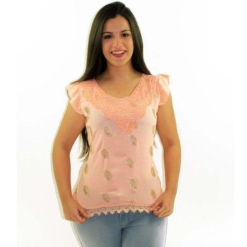 f32cde2c7c2 Blusa Rosa Pastel Decote Rendado Bordado Metálico E Pérolas - Compre Agora  - Feira da Madrugada SP