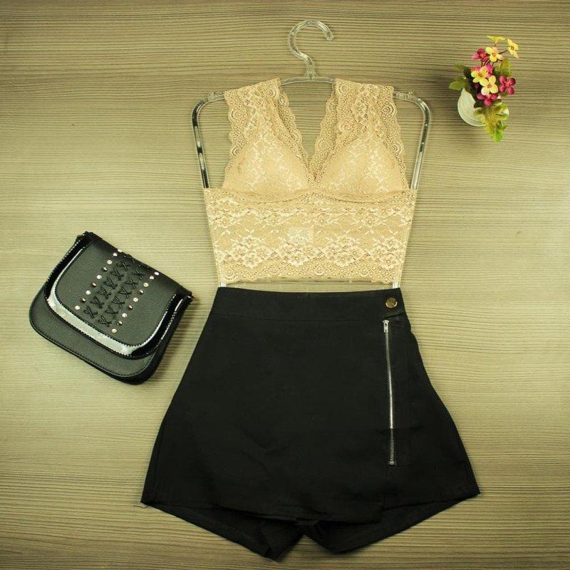 e548538ad5b Top Cropped Nude Rendado Frente Única - Compre Agora - Feira da Madrugada SP