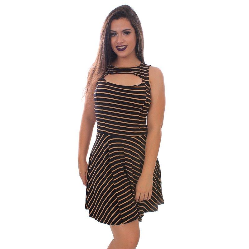 33bfba46c Vestido Com Bojo Rodado E Gola Choker - Compre Agora - Feira da Madrugada SP