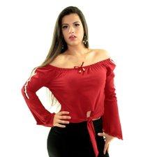 6aa4964d2 Blusa Vermelha Manga Longa Ciganinha Com Amarração - Compre Agora - Feira  da Madrugada SP