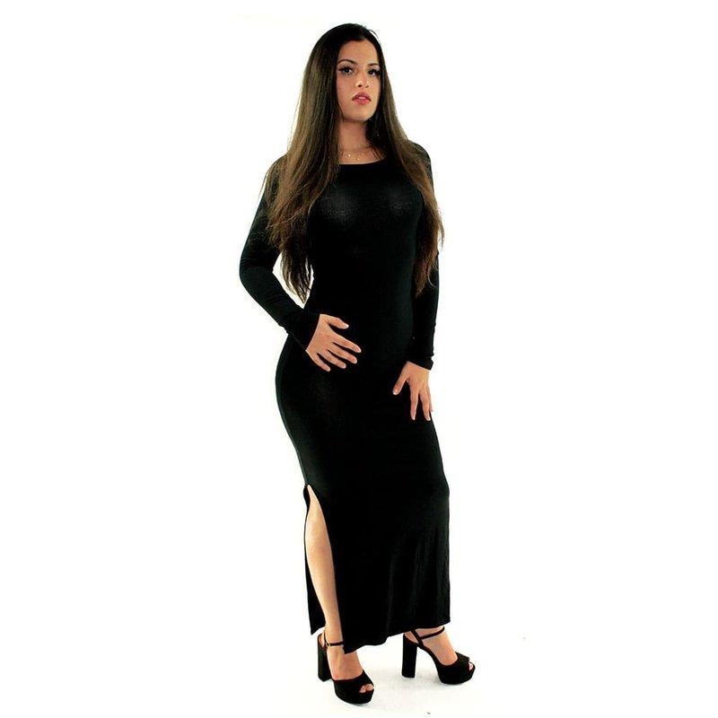 73e4a30a1 Vestido Preto Longo Canelado Liso Com Manga Comprida - Compre Agora - Feira  da Madrugada SP