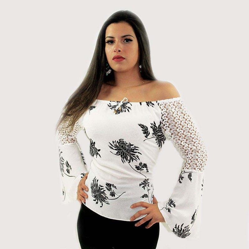 1d7a39706 Blusa Ciganinha Branca Floral Com Manga Longa Flare Rendada - Compre Agora  - Feira da Madrugada SP
