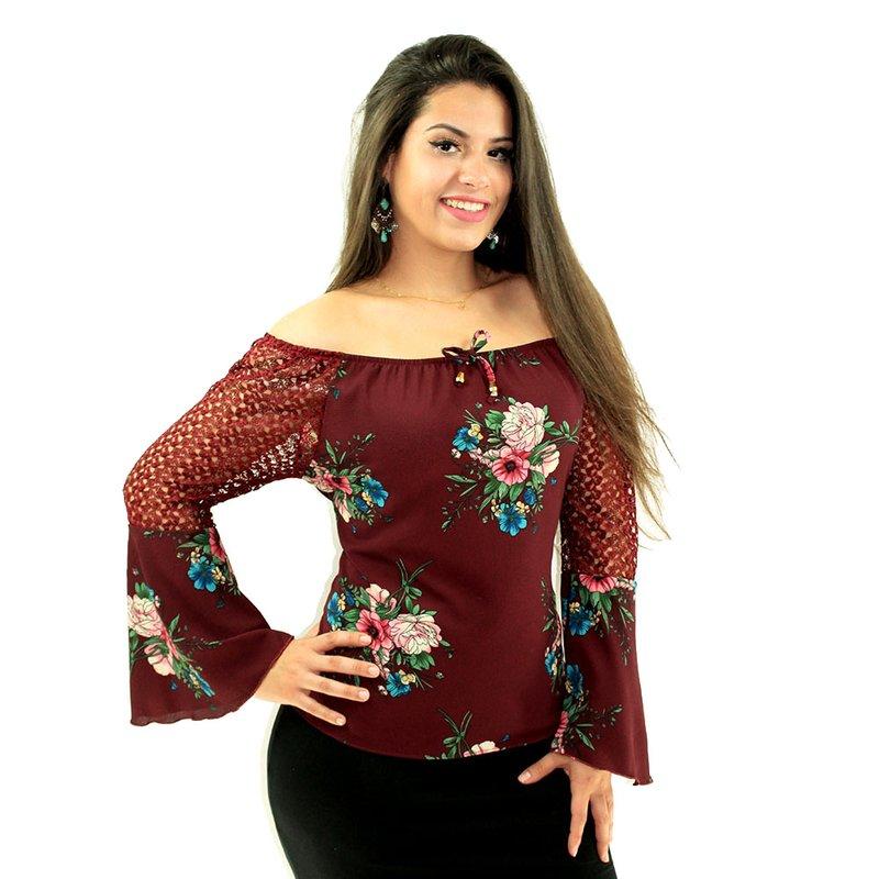 1c845a7f4 Blusa Ciganinha Vinho Floral Com Manga Longa Flare Rendada - Compre Agora -  Feira da Madrugada SP