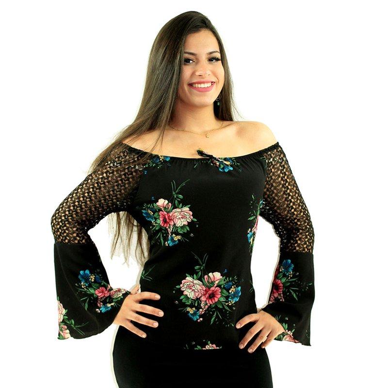 6fd65d6d0f Blusa Ciganinha Preto Floral Com Manga Longa Flare Rendada - Compre Agora -  Feira da Madrugada SP