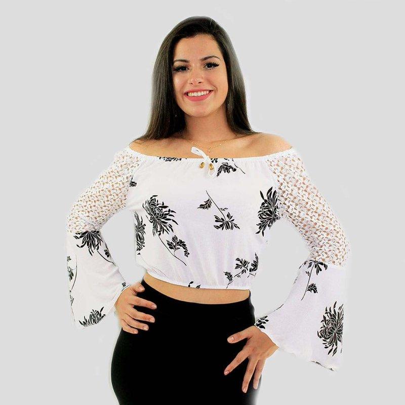 cfded52e6 Blusa Branca Cropped Ciganinha Manga Longa Rendada Flare - Compre Agora -  Feira da Madrugada SP