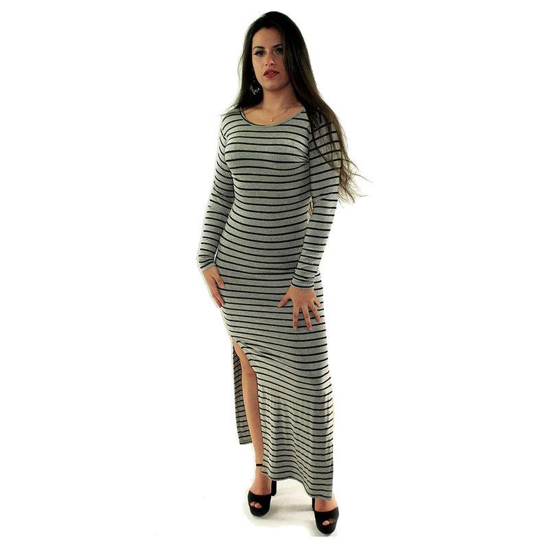 24d386aec Vestido Cinza Longo Canelado Listrado Com Manga Comprida - Compre Agora -  Feira da Madrugada SP