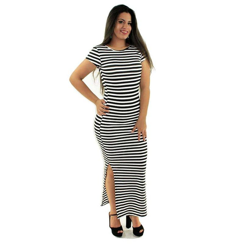 e472eb3a30 Vestido Branco Longo Canelado Listrado Manga Curta - Compre Agora - Feira  da Madrugada SP