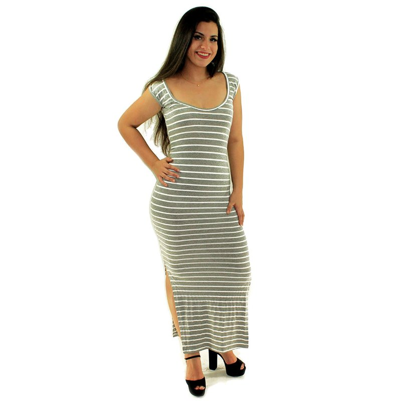 a60f416599 Vestido Cinza Longo Canelado Listrado Com Decote U - Compre Agora - Feira  da Madrugada SP