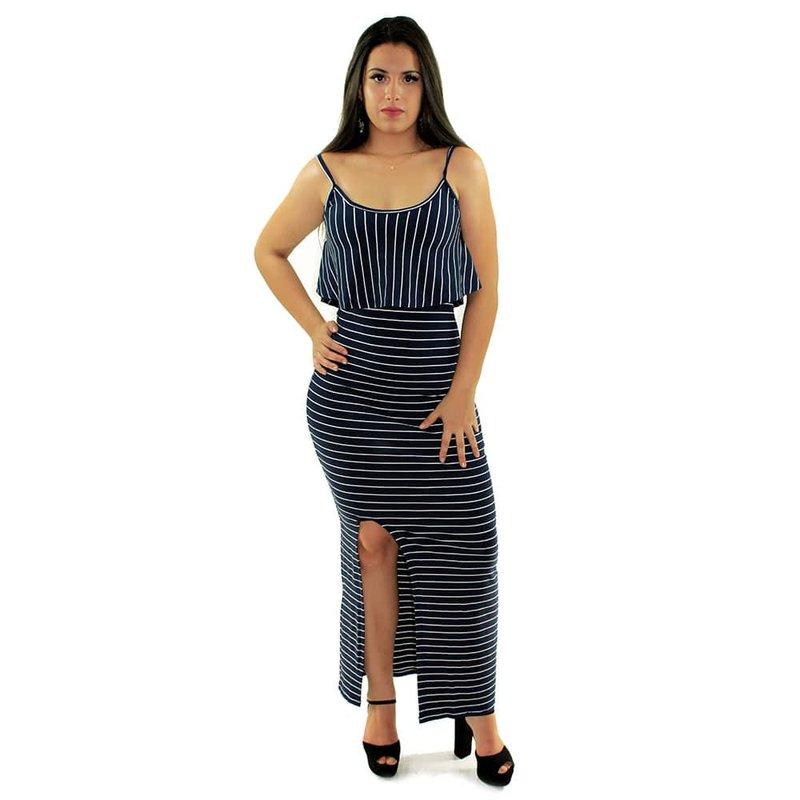 58672fa11b Vestido Azul Escuro Longo Canelado Listrado Alça Fina Com Babado - Compre  Agora - Feira da Madrugada SP