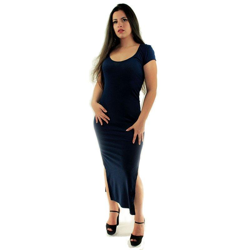 6c21decb78 Vestido Azul Escuro Canelado Longo Liso Manga Curta - Compre Agora - Feira  da Madrugada SP
