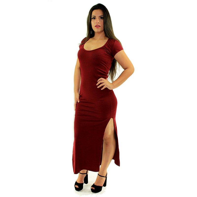 5aed3c08f Vestido Vermelho Longo Canelado Liso Manga Curta - Compre Agora - Feira da Madrugada  SP