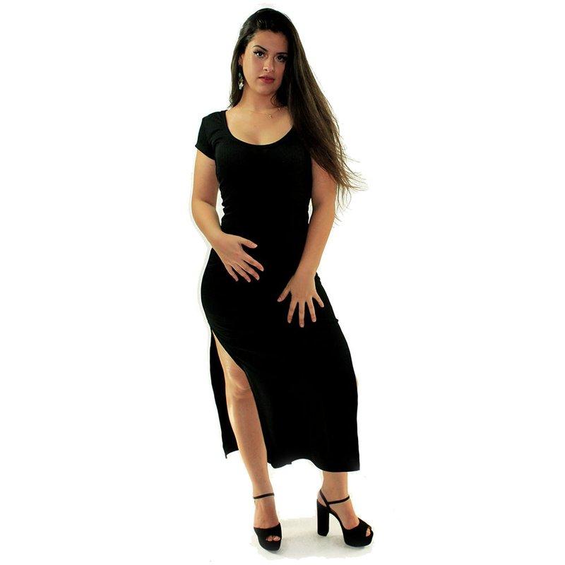 6321d884a Vestido Preto Longo Canelado Liso Manga Curta - Compre Agora - Feira da Madrugada  SP