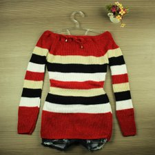 bd5cbad73 Blusa Vermelha Tricot Lã Listrada Ombro A Ombro - Compre Agora - Feira da  Madrugada SP