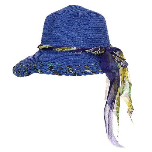 Chápeu Azul Praia Trançado Com Laço Floral - Compre Agora - Feira da ... 2b87f9ed2ff