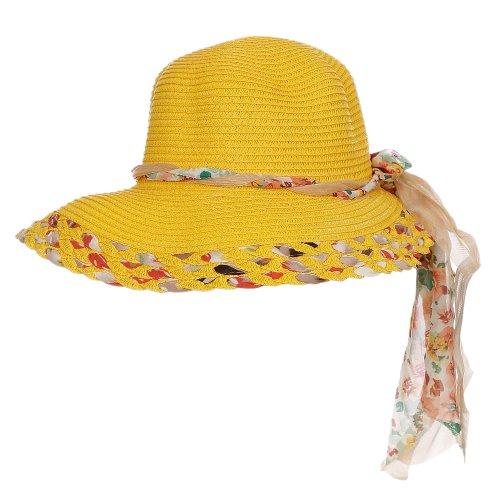 Chápeu Amarelo Praia Trançado Com Laço Floral - Compre Agora - Feira ... e93338a1978