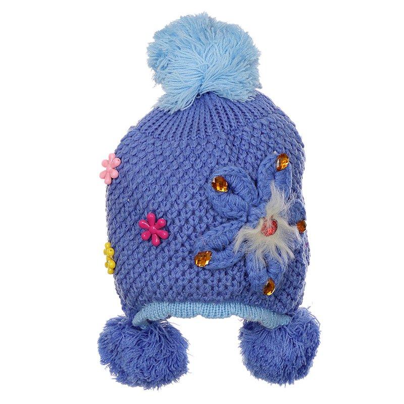 Gorro Azul Infantil De Crochê Bordado Floral Com Pompom - Compre Agora -  Feira da Madrugada SP 3aaec8dadbf