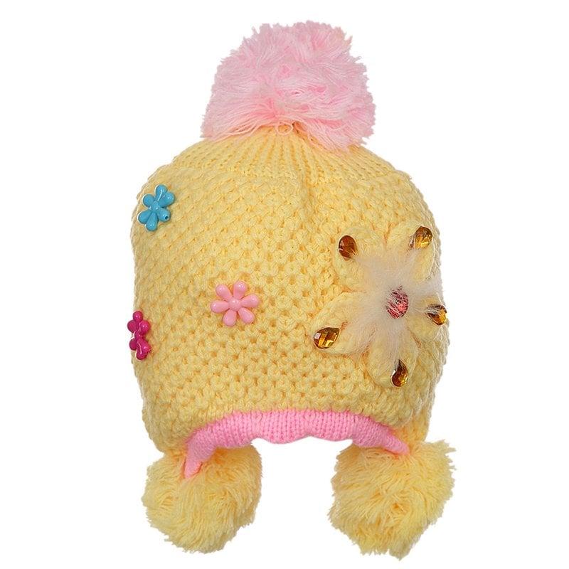 Gorro Amarelo Infantil De Crochê Bordado Floral Com Pompom - Compre ... 693403ca476