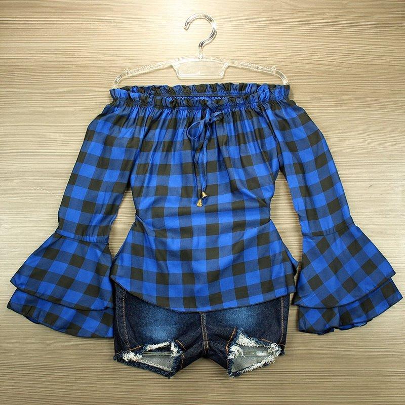 f0a13d4556 Blusa Ciganinha Azul Escuro Xadrez Manga Longa Flare - Compre Agora - Feira  da Madrugada SP
