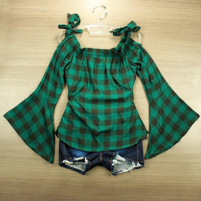 6b1ca7e4f0 Blusa Ciganinha Verde Feminina Xadrez Manga Longa Flare - Compre Agora -  Feira da Madrugada SP
