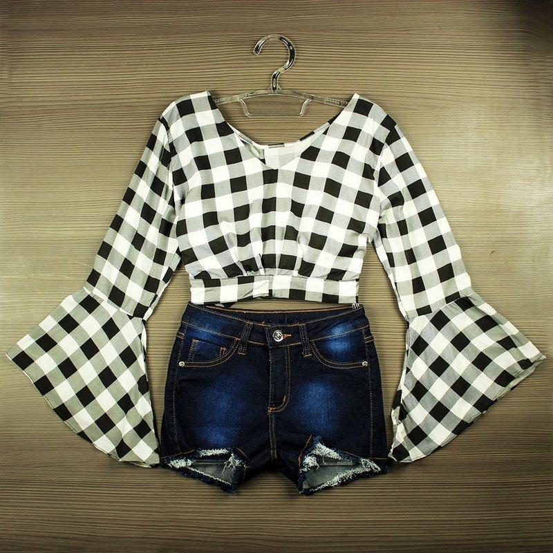 a0e5ddccb Blusa Cropped Xadrez Feminina Com Amarração Nas Costas - Compre Agora -  Feira da Madrugada SP