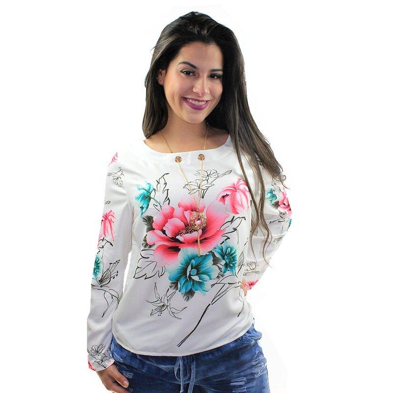 bfb4728f84 Blusa Rosa Feminina Estampada Manga Longa Com Pingente - Compre ...