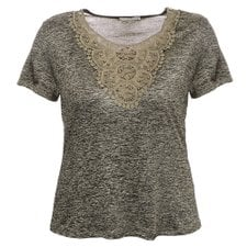 Blusa Cintilante Decote Rendado E Bordado Plus Size