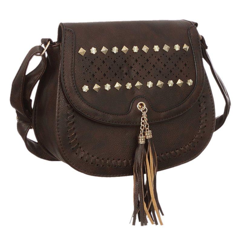 49318d6a8 Bolsa Feminina Transversal Com Tachas E Tassel - Compre Agora - Feira da  Madrugada SP