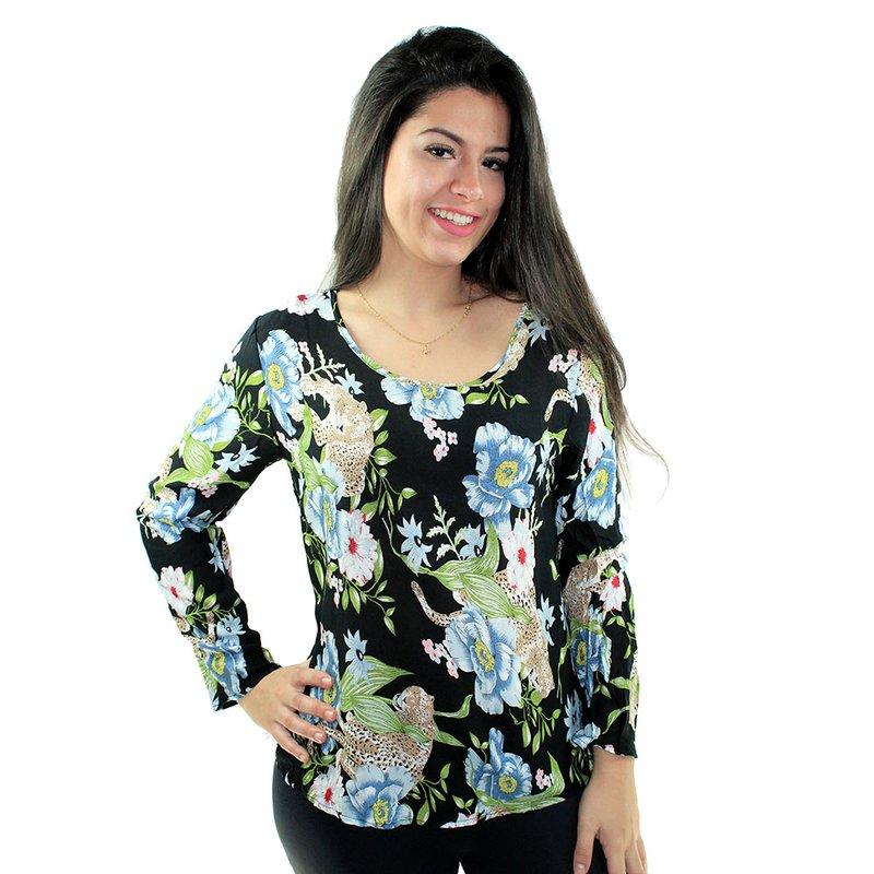 2ece1ff2b4 Blusa Azul Escuro Feminina Estampa Floral Manga Longa - Compre Agora -  Feira da Madrugada SP