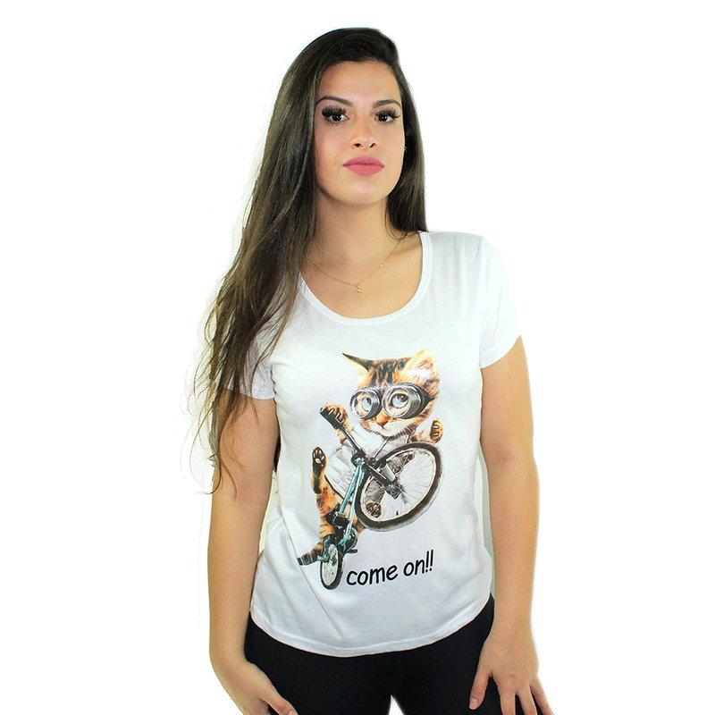 04d57b2a0 Camiseta Feminina Estampa De Gatinho Baby Look - Compre Agora ...