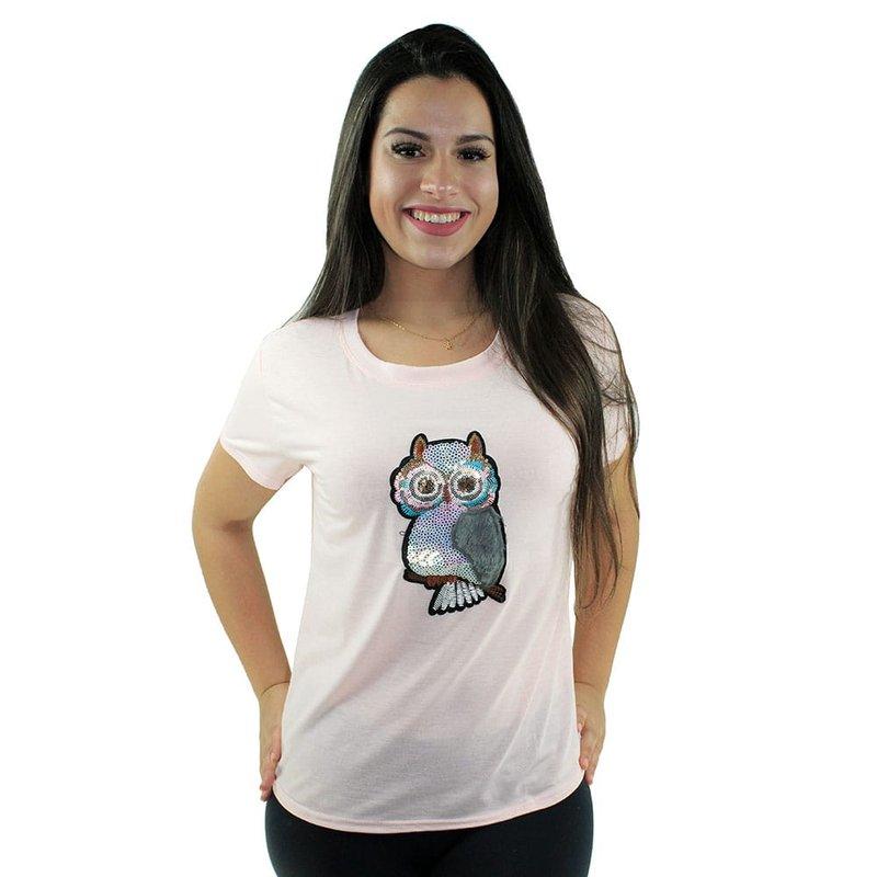 6c3f88146 Camiseta Baby Look Feminina Estampa De Coruja Em Alto Relevo - Compre Agora  - Feira da Madrugada SP
