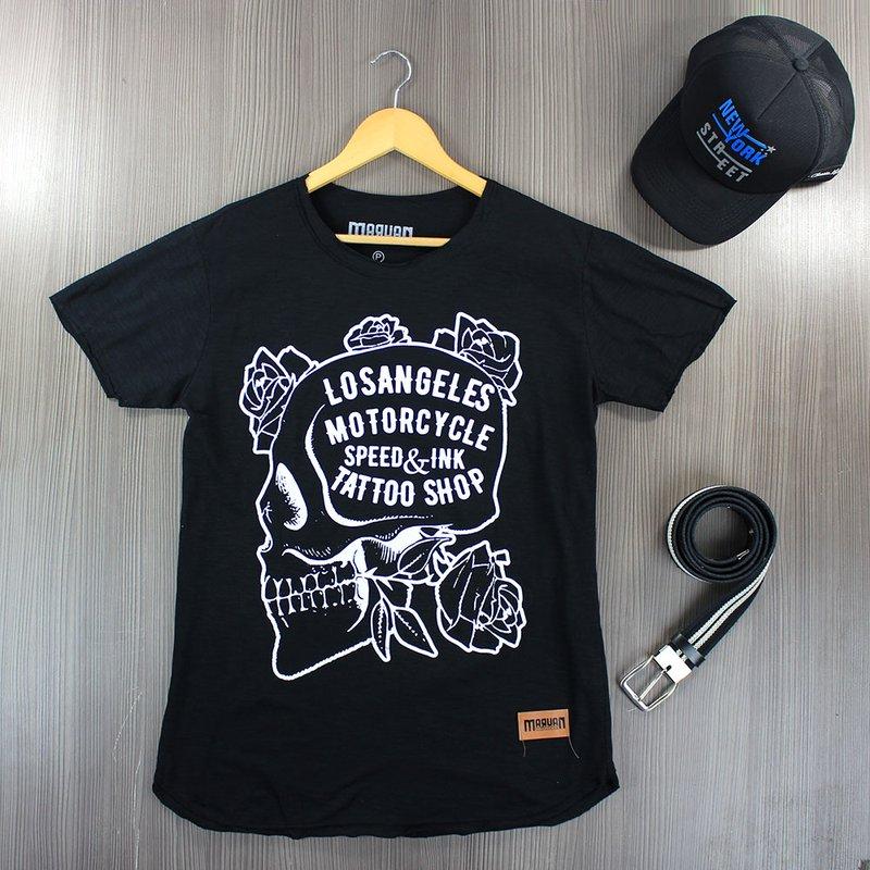 315584a0b115 Camiseta Preta T-Shirt Masculina Manga Curta E Estampa Frontal - Compre  Agora - Feira da Madrugada SP