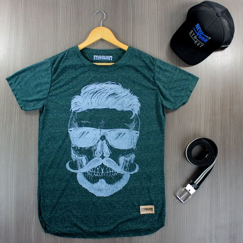 Camiseta Masculina T-Shirt Verde Escuro Estampada Com Manga Curta ... 0771351f476c4