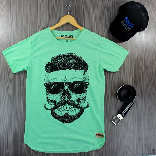 Camiseta Masculina T-Shirt Verde Claro Estampada Com Manga Curta ... 524f9d4fbf5a6