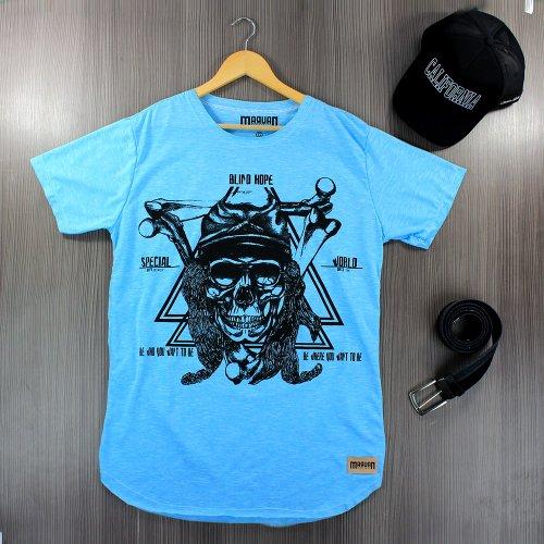 Camiseta Masculina Azul Claro T-Shirt Manga Curta Estampa Frontal ... e7d6b0e578065