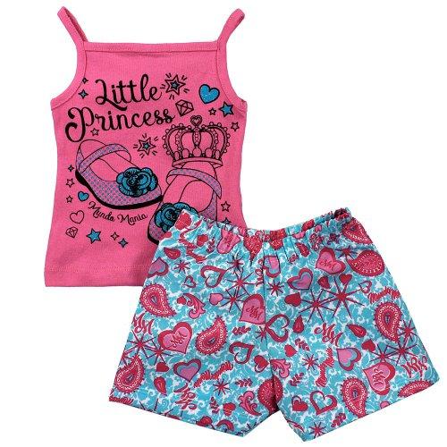 Conjunto Infantil Regata Rosa Com Glitter + Short Estampado - Compre ... 587bac24ed9