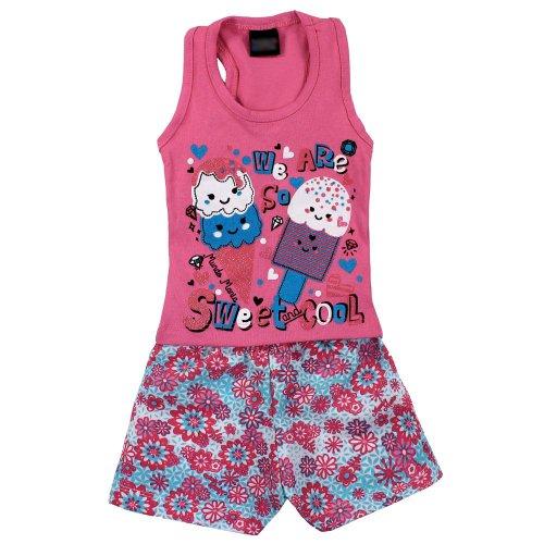 1a8d7e24e354b Conjunto Infantil Rosa Regata Com Glitter + Short Floral - Compre ...