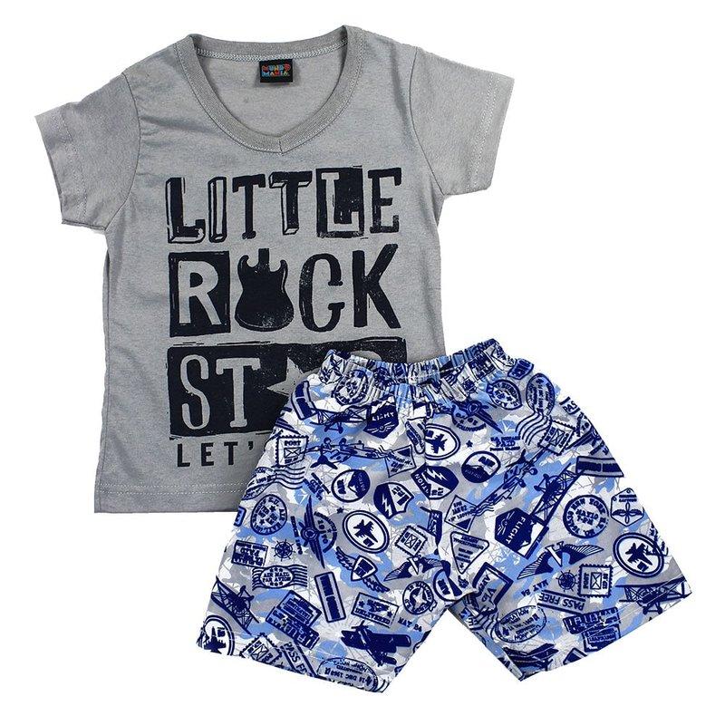 8c52ab59bc Conjunto Infantil Cinza Masculino Camiseta + Short Estampado - Compre Agora  - Feira da Madrugada SP