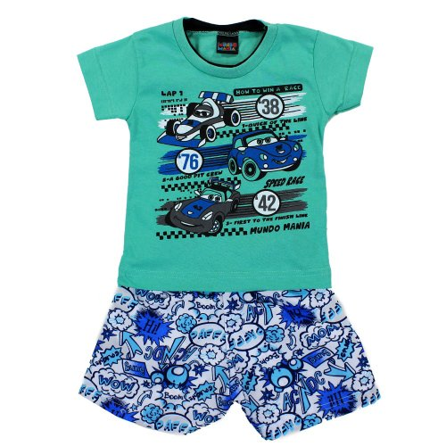 Conjunto Infantil Verde Claro Camiseta + Short Estampado Masculino ... 6c445217c9f