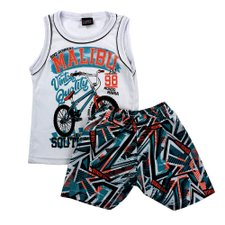 Conjunto Infantil Branco Masculino Regata Tropical + Short Estampado