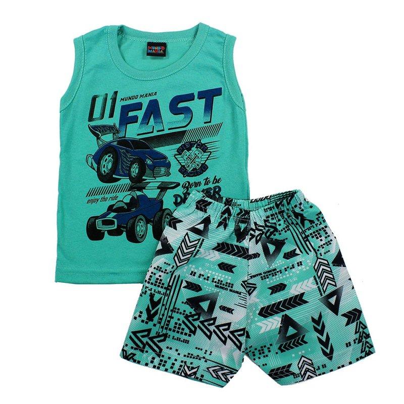 6b170352e6eda Conjunto Infantil Verde Masculino Regata Tropical + Short Estampado - Compre  Agora - Feira da Madrugada SP